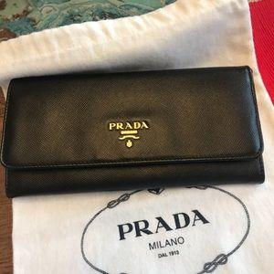 Authentic PRADA MILANO Logos Long Wallet  Leather